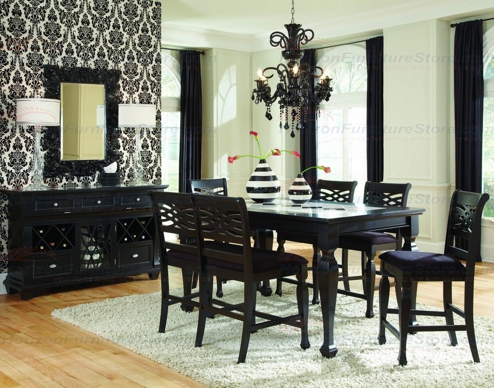 Najarian Furniture Monaco 6 Piece Counter Height Dining Set In Black With Regard To Monaco Dining Sets (View 20 of 25)