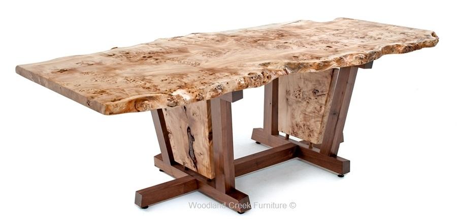 Nakashima Style Dining Table, Mid Century Modern, Contemporary regarding Danish Style Dining Tables