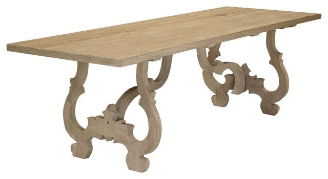Nantes French Country Carved Reclaimed Elm Wood Dining Table With Natural Wood & Recycled Elm 87 Inch Dining Tables (Image 19 of 25)