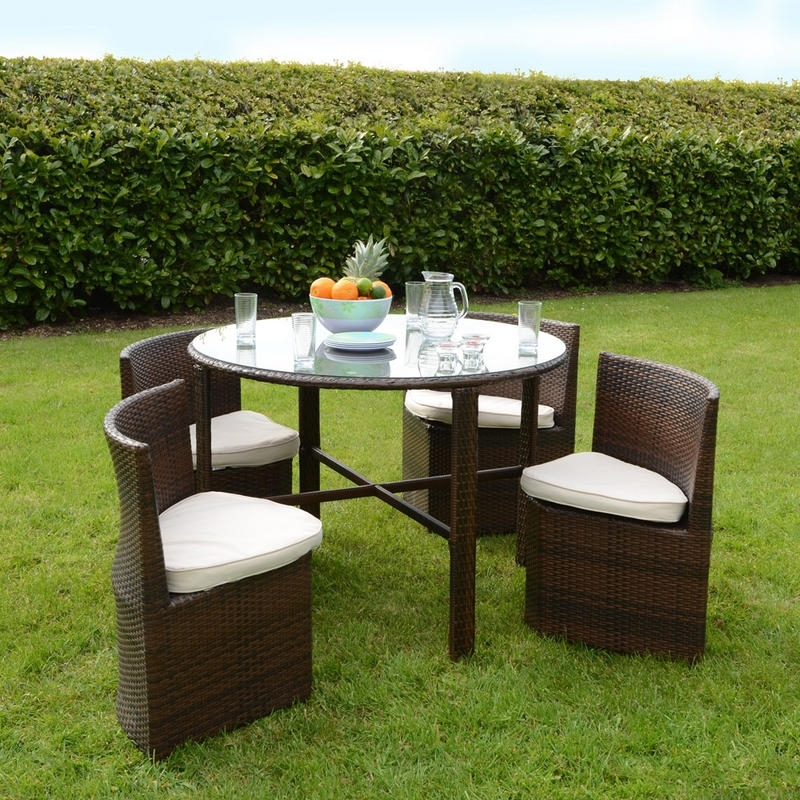 Napoli Rattan Wicker Dining Garden Furniture Set With, Garden Table Regarding Garden Dining Tables And Chairs (Image 12 of 25)