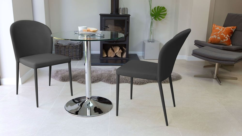 Naro Glass And Santo Stackable 2 Seater Dining Set | Gray Dining In Dining Tables With 2 Seater (Image 18 of 25)