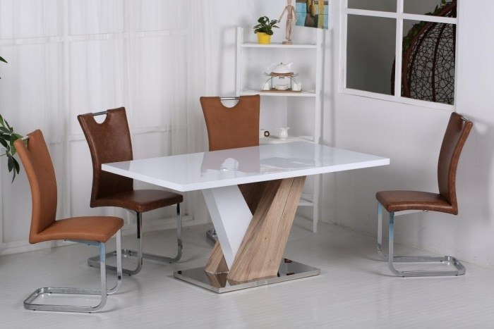 Natalia High Gloss Dining Table | Glass Dining Tables | Furn-On throughout Vienna Dining Tables