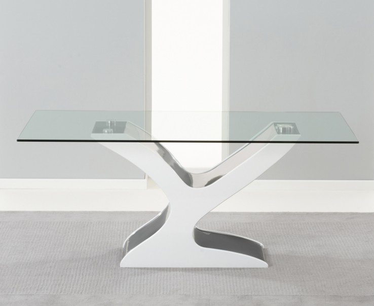 Natalie 180Cm Black & White Gloss And Glass Dining Table | Style Our with White Gloss And Glass Dining Tables