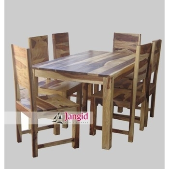 Natural Indian Sheesham 6 Seaters Wooden Dining Tables And With With Regard To Wood Dining Tables (Image 16 of 25)