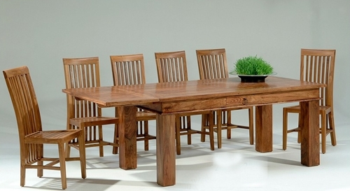 Natural Living Furniture Wooden Sheesham Hardwood Rosewood Throughout Sheesham Dining Tables And Chairs (View 19 of 25)