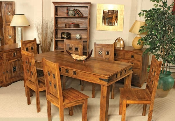 Natural Living Furniture Wooden Sheesham Hardwood Rosewood With Sheesham Wood Dining Tables (View 6 of 25)