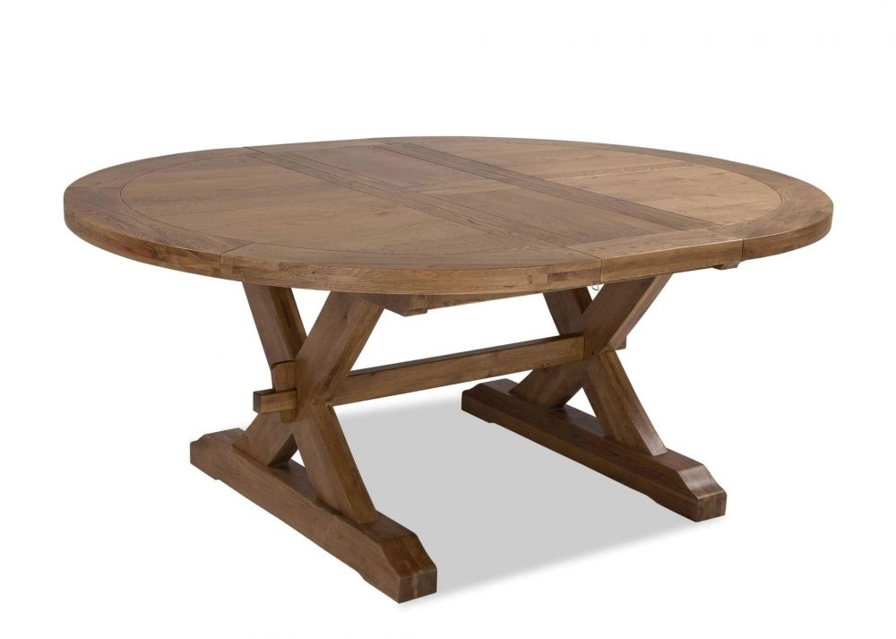 Natural Oak Extendable Round Dining Table – Athens – Ez Living Furniture With Regard To Extendable Round Dining Tables (Image 17 of 25)