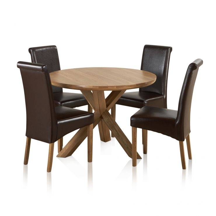 Natural Real Oak Dining Set: Round Table + 4 Brown Leather Chairs Regarding Oak Dining Tables And Leather Chairs (Image 13 of 25)