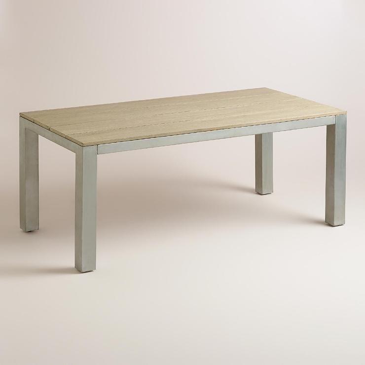 Natural Wood And Silver Metal Pelagia Dining Table Throughout Dining Tables With Metal Legs Wood Top (Image 15 of 25)