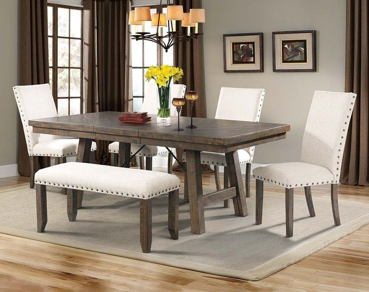 Natural Wood Dining Set, White Upholstery | Jax 5 Piece Dining Set With Regard To Parquet 6 Piece Dining Sets (Photo 24 of 25)