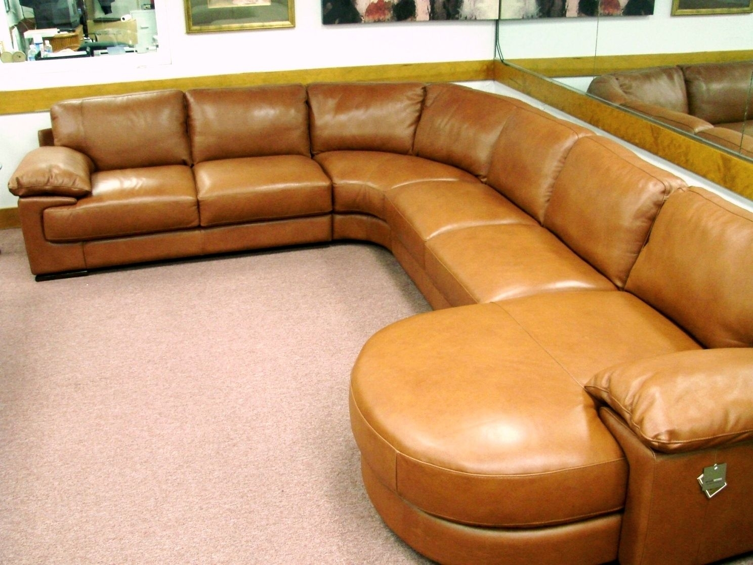 Natuzzi Editions B684 Rust 4 Piece Leather Sectional (Image 13 of 25)