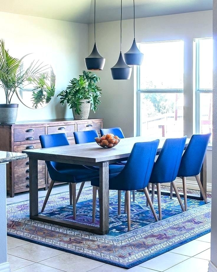 Navy Blue Painted Dining Table Velvet Room Chairs Black With Regarding Blue Dining Tables (Image 18 of 25)