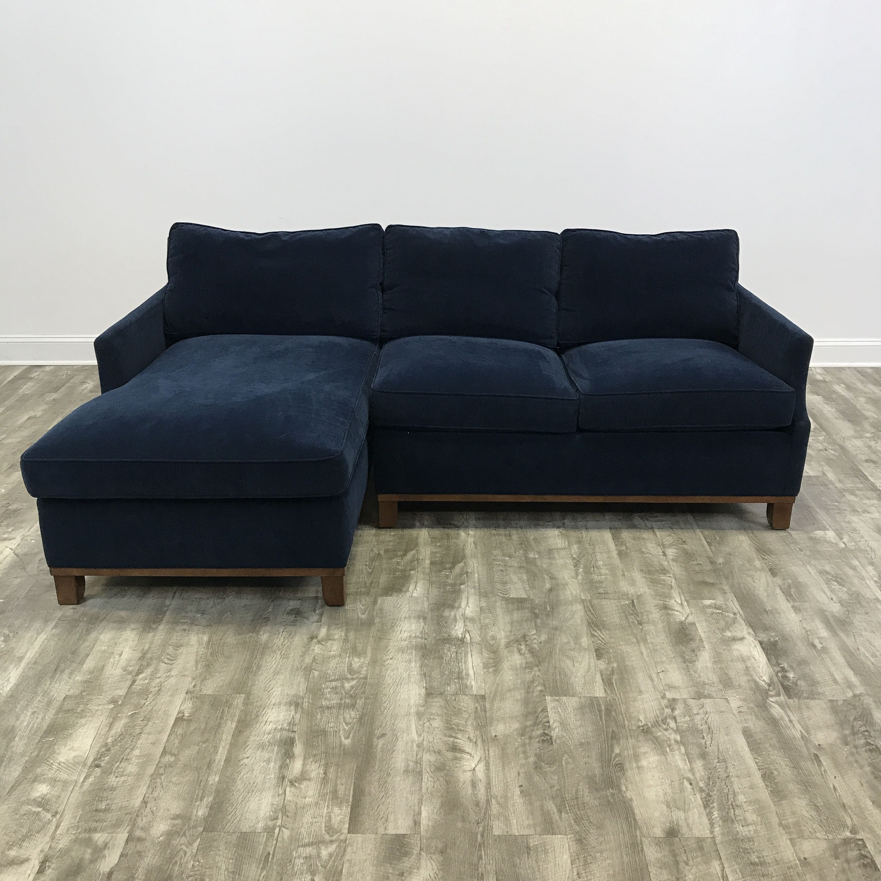 Navy Velvet Sectional – Intnl Wildrover Inside Delano 2 Piece Sectionals With Raf Oversized Chaise (View 25 of 25)