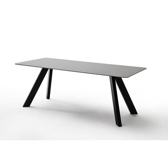 Nebi Glass Dining Table Wide In Grey With Metal Legs 25148 With Glass Dining Tables With Wooden Legs (View 10 of 25)