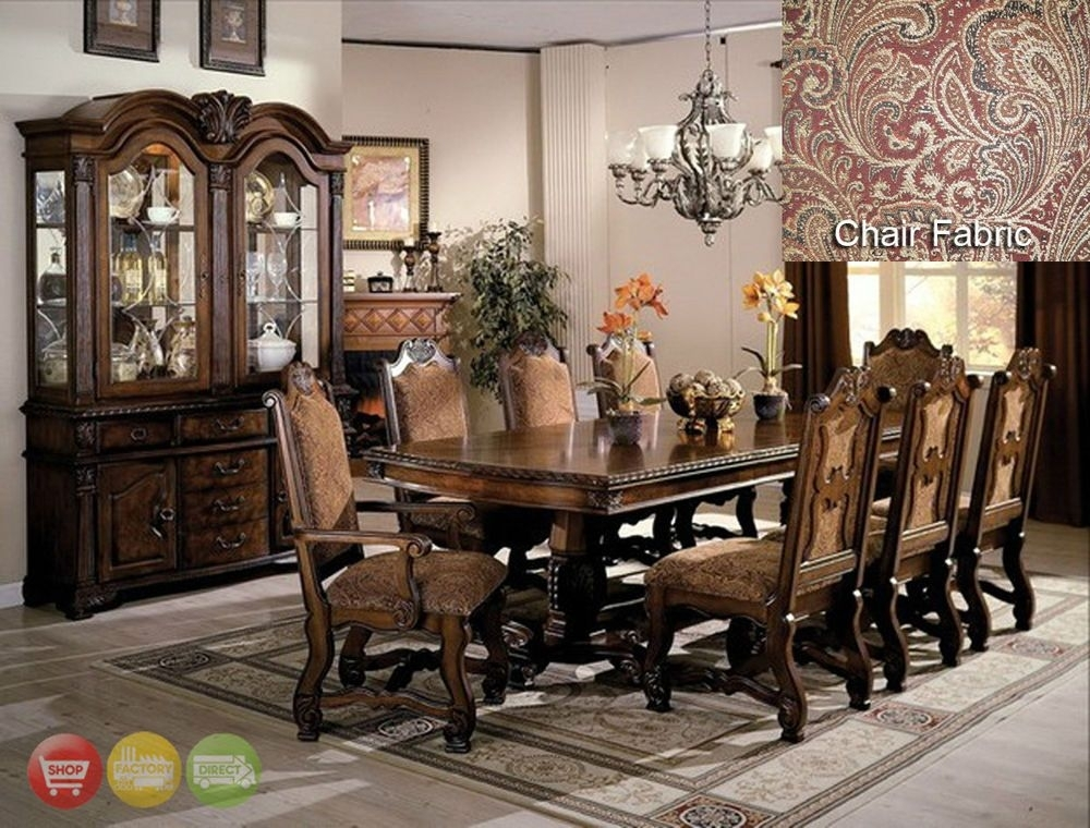 Neo Renaissance Formal Dining Room Furniture Set With Optional China In Bale 6 Piece Dining Sets With Dom Side Chairs (Image 22 of 26)