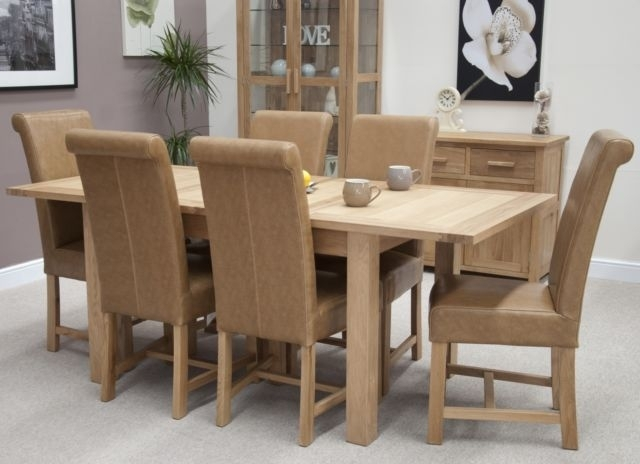 Nero Solid Oak Furniture Dining Table And 6 Leather Chairs Set With For Oak Furniture Dining Sets (Image 10 of 25)