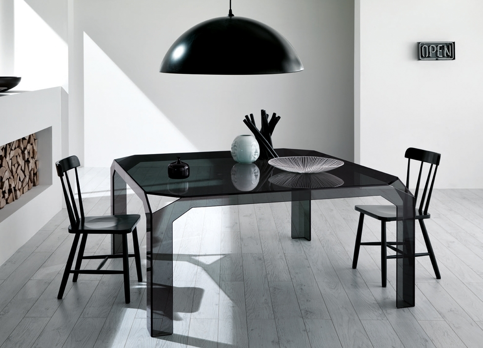 Nervi Square Glass Dining Table | Glass Tables | Tonelli Design Inside Square Black Glass Dining Tables (Image 16 of 25)