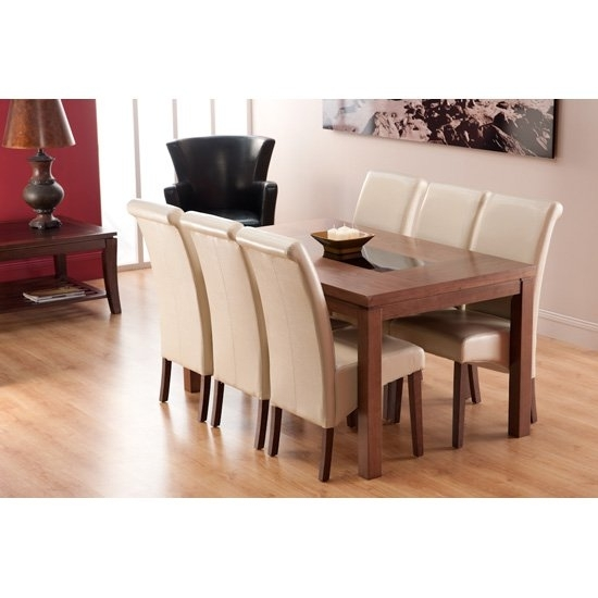 Nevada Dining Table In Walnut And 4 Ivory Dining Chairs In Walnut Dining Table And 6 Chairs (Photo 3 of 25)