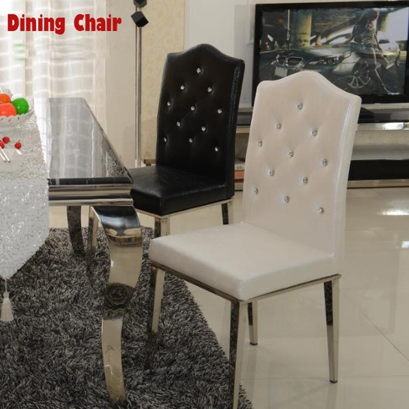 New 100% Stainless Steel+Leather Dining Chairs,fashion Living Room With Regard To White Leather Dining Chairs (View 18 of 25)