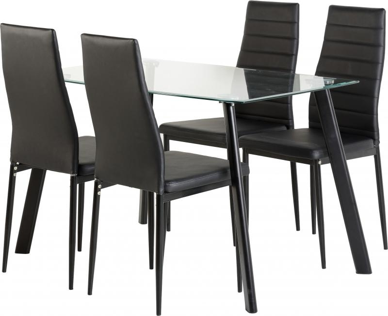 New 'abbey' Clear Glass Dining Table + 4 Chairs In Black Only 299.99 with Cheap Glass Dining Tables and 4 Chairs