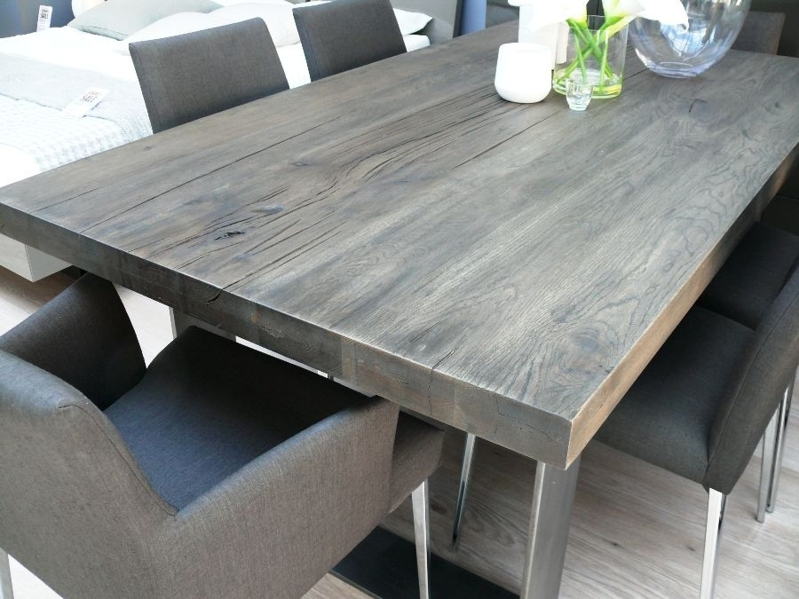 New Arrival: Modena Wood Dining Table In Grey Wash   Misty In Grey Dining Tables (Photo 6 of 25)