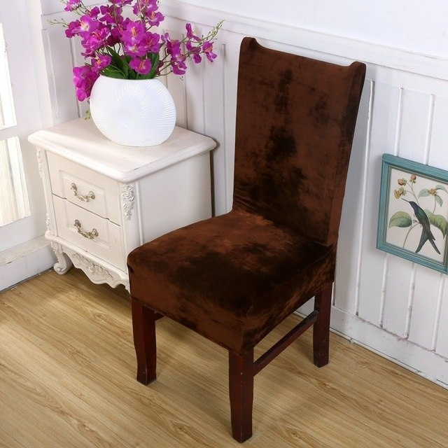 New Arrival Thick Velvet Dining Chair Cover Spandex Fabric For Hotel With Fabric Covered Dining Chairs (Photo 20 of 25)