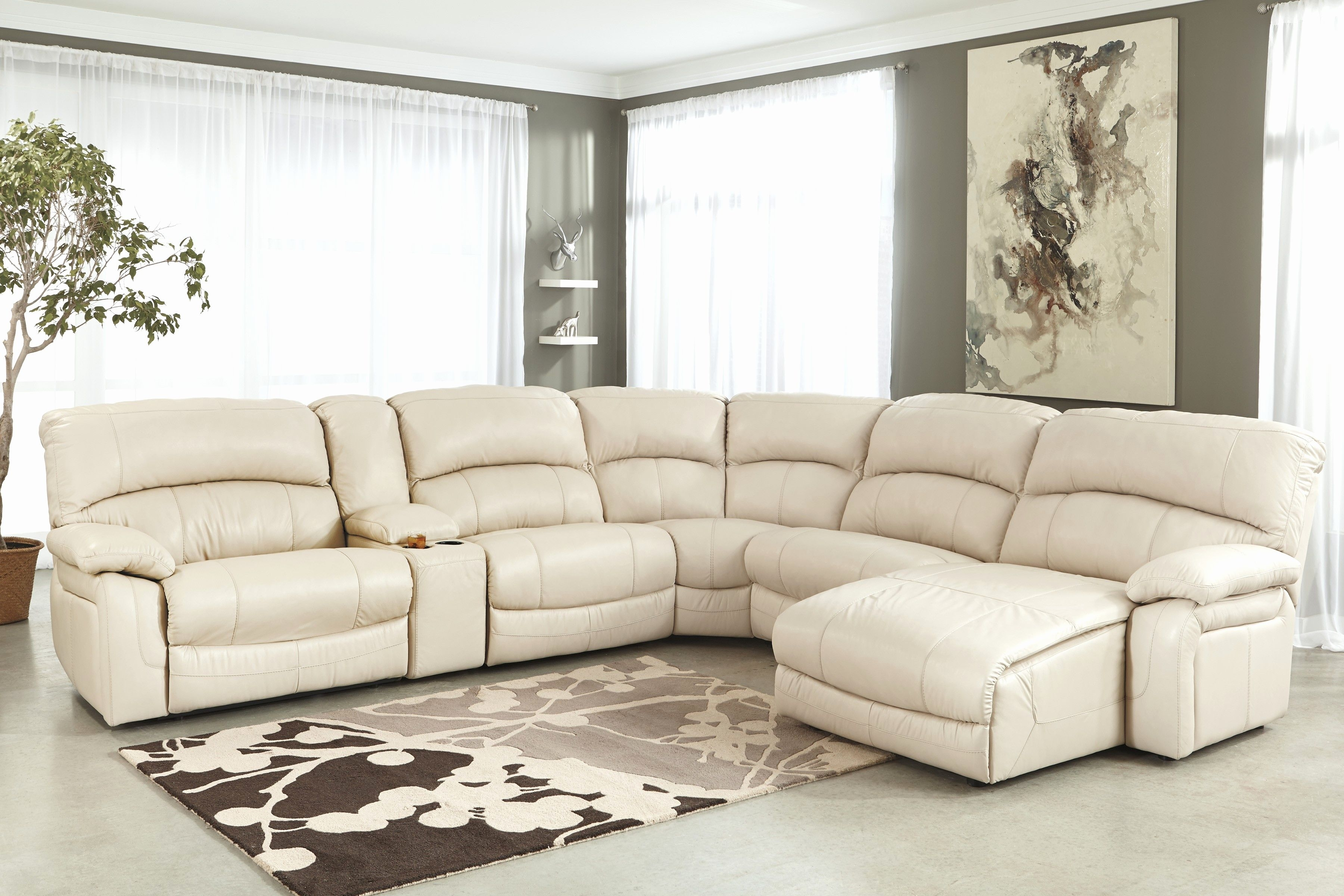 New Cream Sectional Sofa Pics Cream Leather Sectional Sofa With Intended For Marcus Chocolate 6 Piece Sectionals With Power Headrest And Usb (Image 16 of 25)