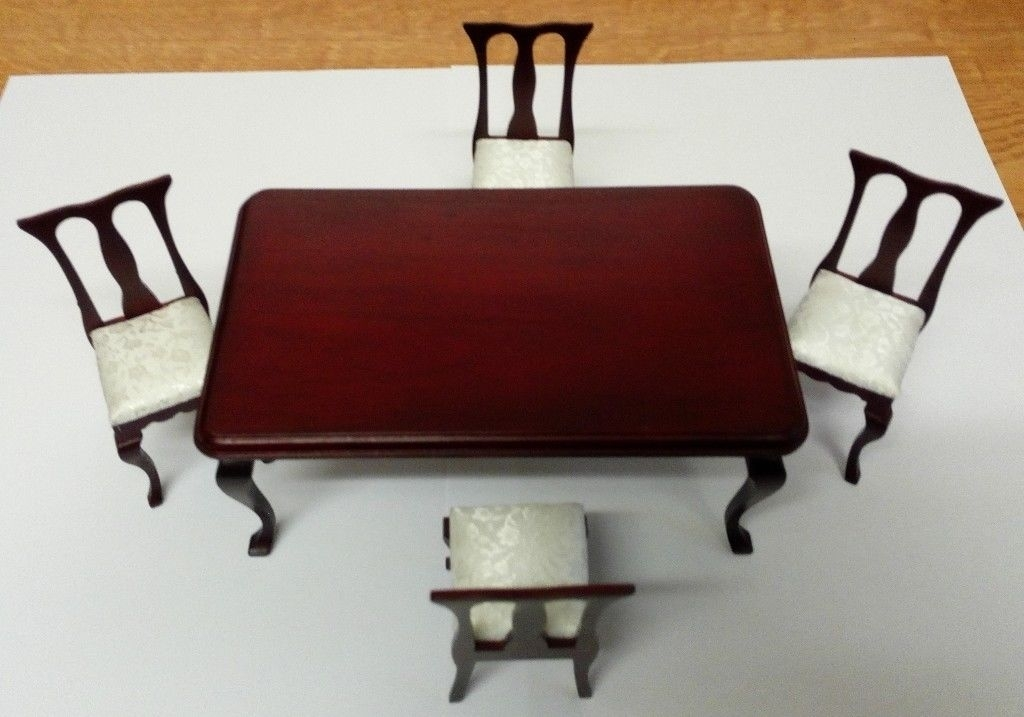 New In Box Dolls House Mahogany Dining Table & 4 Chairs With Dralon With Regard To Mahogany Dining Tables And 4 Chairs (View 9 of 25)