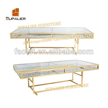 New Model Crystal Glass Pedestal Royal Dining Table Gold – Buy Royal With Crystal Dining Tables (Photo 25 of 25)