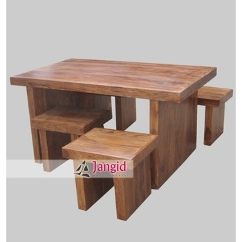New Style Wooden Sheesham Thick Wood Slab Rectangular Dining Table For Sheesham Dining Tables And 4 Chairs (Image 16 of 25)