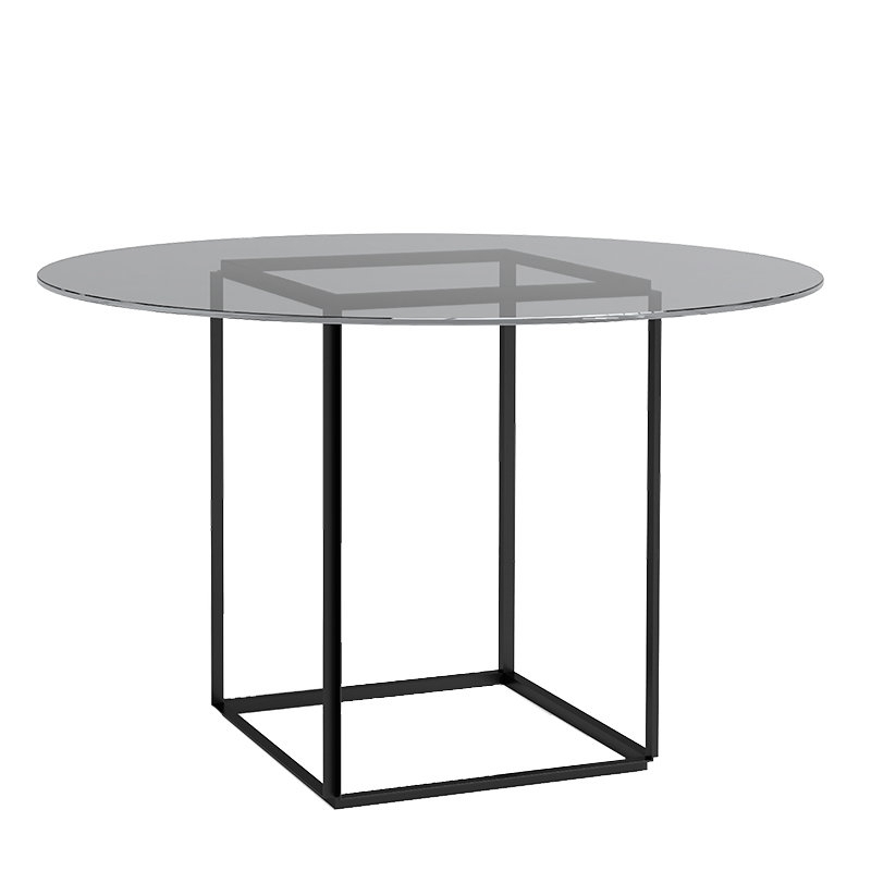 New Works Florence Dining Table, Black - Smoked Glass | Finnish pertaining to Florence Dining Tables
