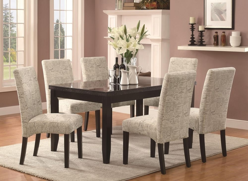 Newbridge 7 Piece Cappuccino Dining Table Set With Script Pattern Pertaining To Dining Tables And Fabric Chairs (View 10 of 25)