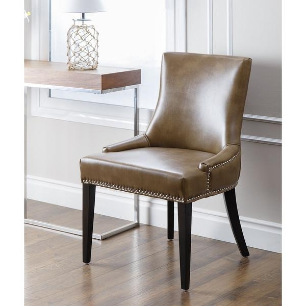 Newport Brown Leather Nailhead Trim Dining Chair Pertaining To Brown Leather Dining Chairs (Image 21 of 25)