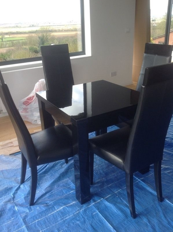 Next Black Gloss Dining Table And 4 Chairs | In Waddington In Black Gloss Dining Room Furniture (Image 18 of 25)