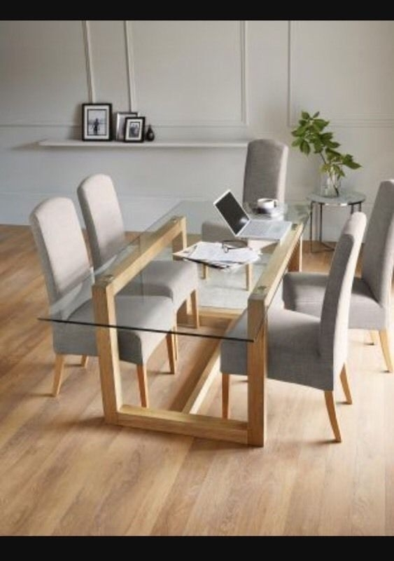 Featured Photo of Glass And Oak Dining Tables And Chairs