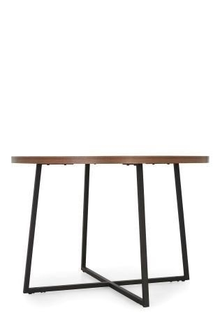 Next Home Dark Walnut Wooden Effect Round Dining Table With Black Pertaining To Logan Dining Tables (Image 17 of 25)