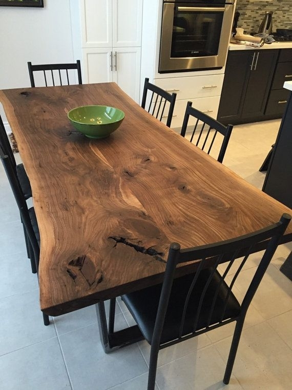 Nice Black Walnut Dining Table With Trapezoid Legs | Counter Height For Dark Wooden Dining Tables (Image 23 of 25)