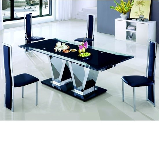 Nico Extending Glass Dining Table And 6 Leather Dining With Extendable Glass Dining Tables And 6 Chairs (Photo 4 of 25)