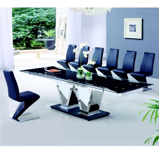 Nico Extending Glass Dining Table And 8 Z Leather Chairs in Extending Glass Dining Tables and 8 Chairs
