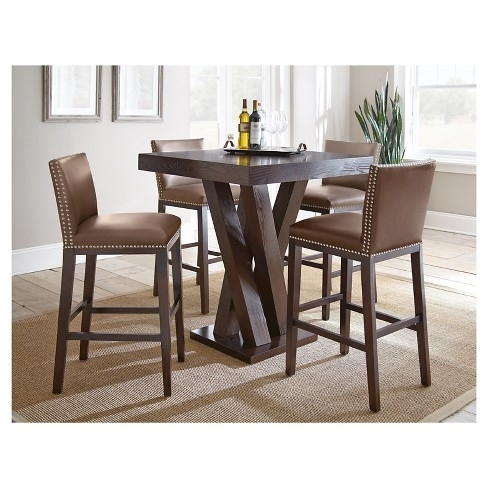 Noah Vanilla 4 Pc Bar Height Dining Room With Barstools Throughout inside Noah Dining Tables
