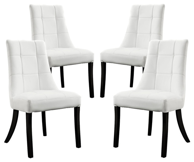 Noblesse Vinyl Dining Chair, Set Of 4 – Transitional – Dining Chairs Pertaining To White Dining Chairs (Image 19 of 25)