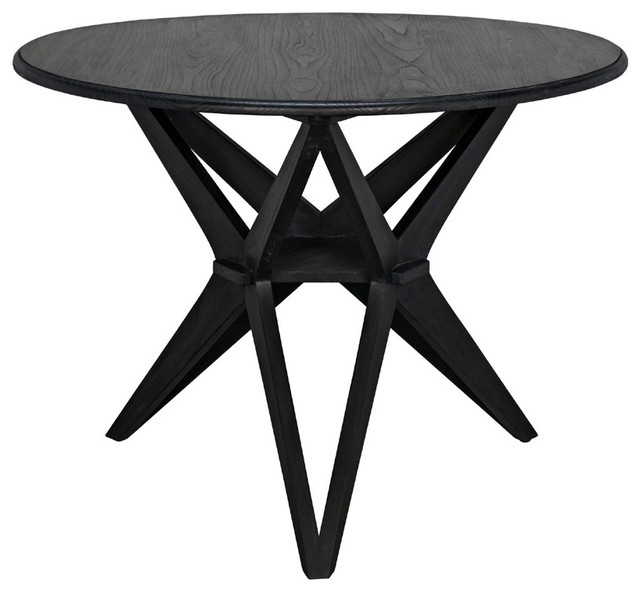 Noir Furniture Victor Dining Table, Charcoal Black - Midcentury in Victor Dining Tables