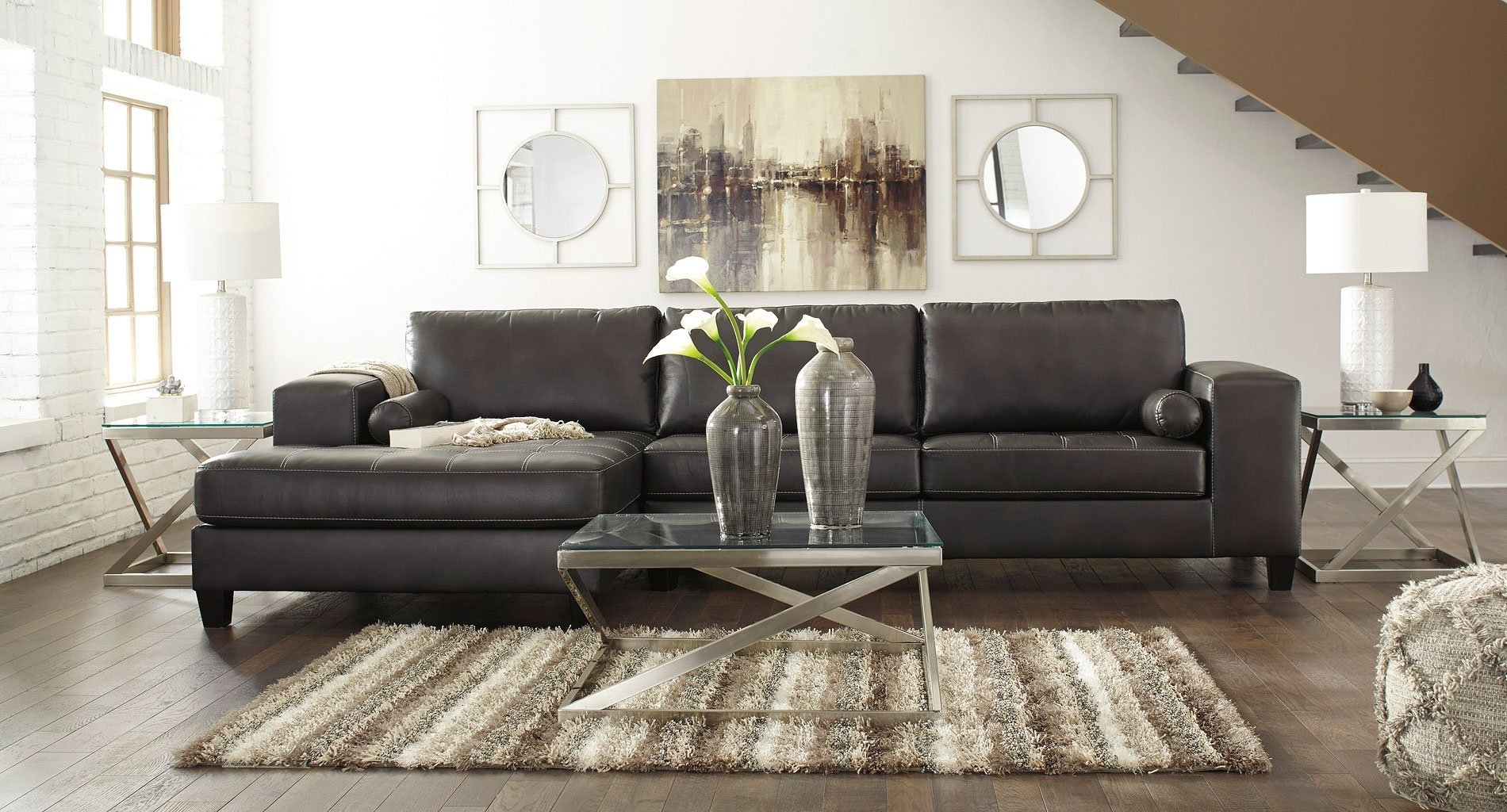 Nokomis Charcoal Sectional Set - Living Room Furniture - Living in Nico Grey Sectionals With Left Facing Storage Chaise
