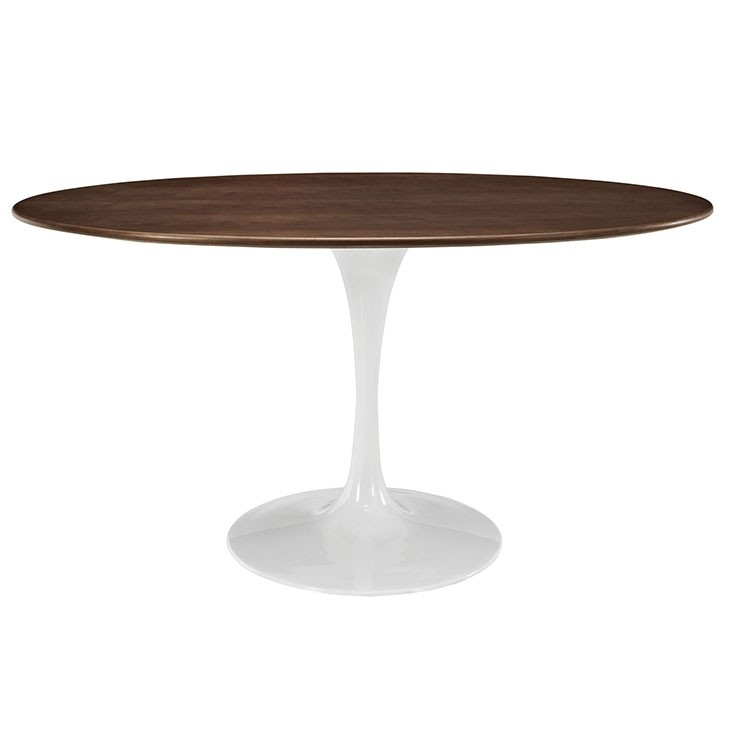 "Nora Oval Shaped 60"" Walnut Modern Round Dining Table For Nora Dining Tables (Photo 18 of 25)"
