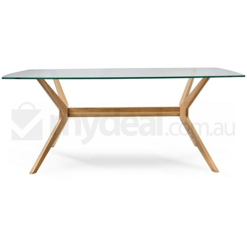 Nora Retro Oak Dining Table With Glass Top Natural | Buy Dining With Regard To Glass Top Oak Dining Tables (View 3 of 25)
