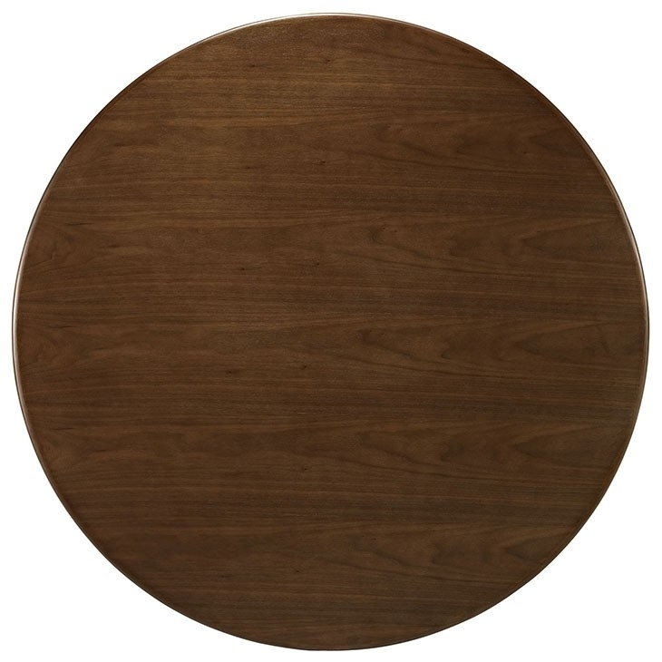 Nora Walnut Modern Round Dining Table With Regard To Nora Dining Tables (Image 17 of 25)
