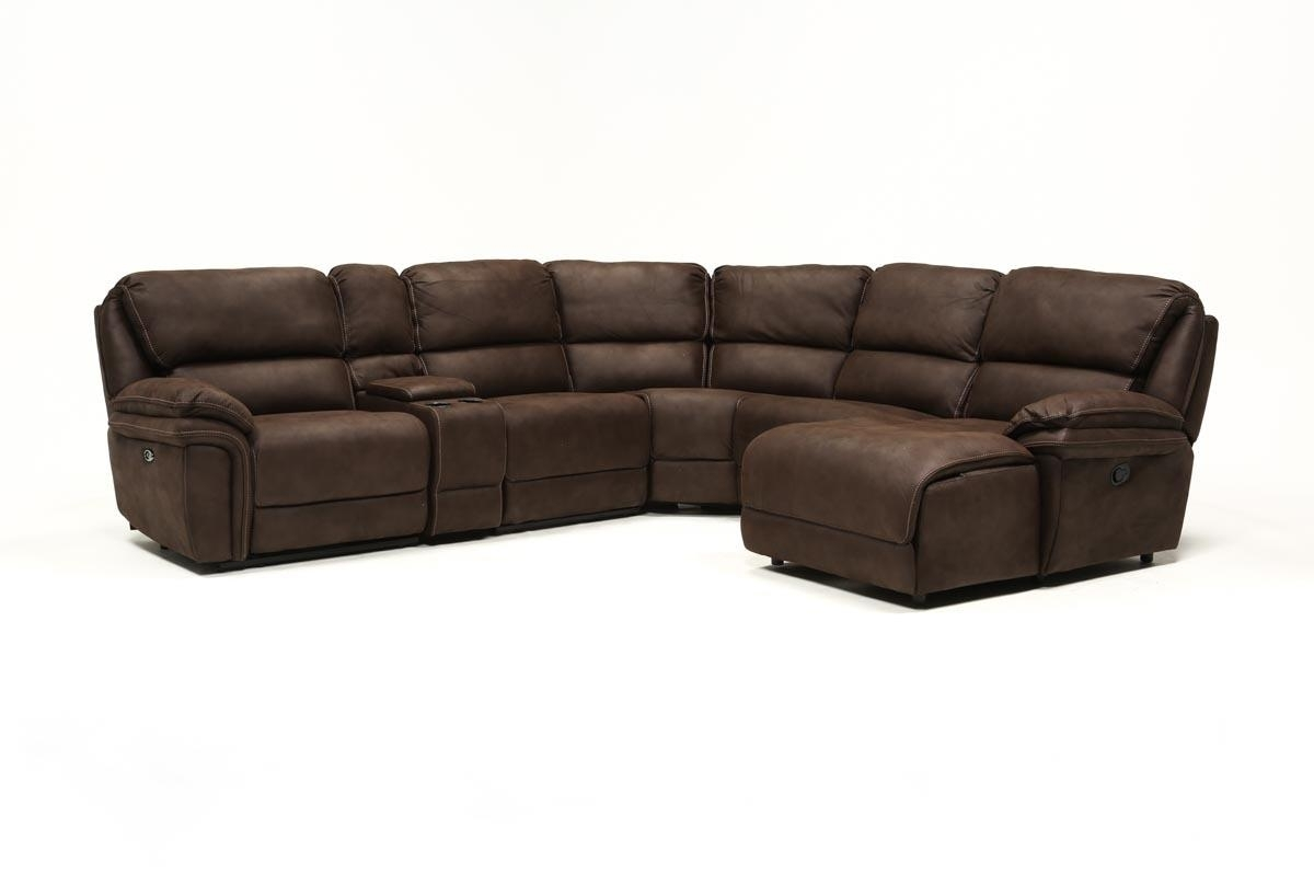 Norfolk Chocolate 6 Piece Sectional W/raf Chaise | Living Spaces For Norfolk Grey 6 Piece Sectionals With Raf Chaise (View 5 of 25)
