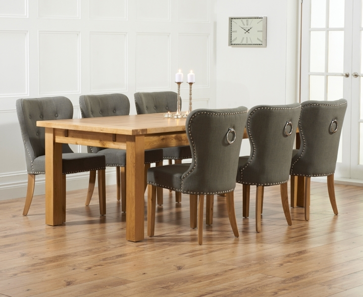 Normandy 220Cm Solid Oak Extending Dining Table With Knightsbridge With Oak Dining Tables And Fabric Chairs (Image 15 of 25)