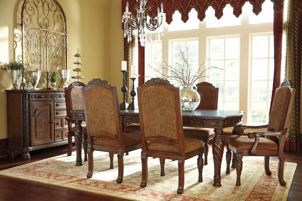 North Shore Rect Dining Room Ext Table, 4 Uph Side Chairs & 2 Uph Within Dining Room Chairs (Image 20 of 25)