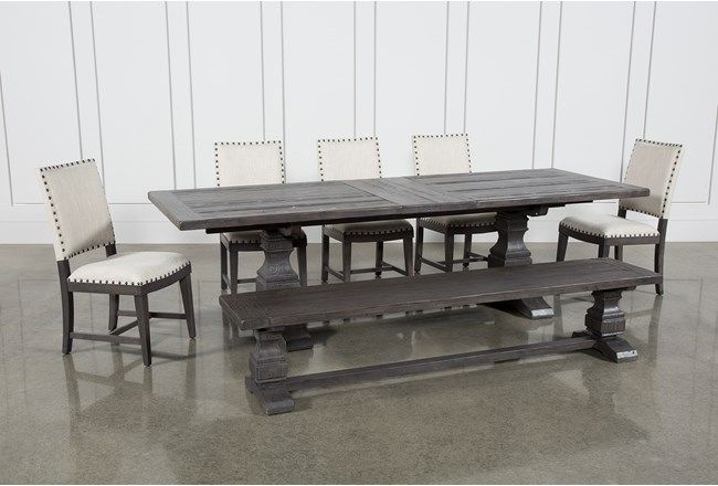 Norwood 7 Piece Rectangular Extension Dining Set With Bench & Uph For Caden 6 Piece Rectangle Dining Sets (Image 12 of 25)